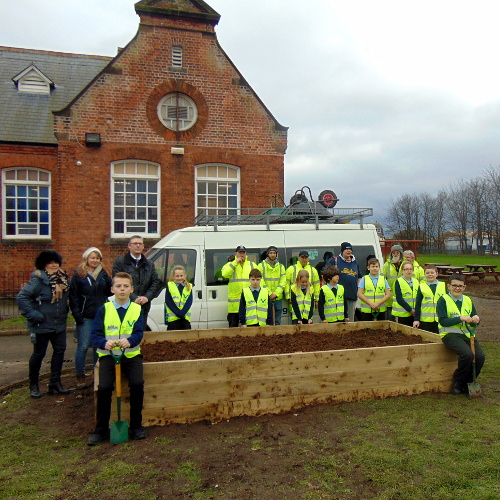 Victoria Voase, Voase Builders, Leah Hallas, TVC, Steve Kernan, Headteacher Newington Academy together with the TVC volunteers and Newington Academy pupils.